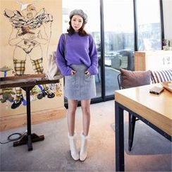 QNIGIRLS - Pocket-Front Wool Blend Mini Skirt