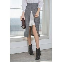 migunstyle - Inset Pleated-Trim Slit-Front Skirt