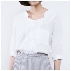 Sens Collection - Split-neck 3/4-Sleeve Blouse