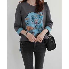 NIPONJJUYA - Cuffed 3/4-Sleeve Illustration T-Shirt