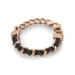 Kenny & co. - Brown Leather IP Rose Gold Screw Bracelet