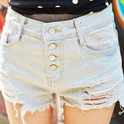 Isadora - Distressed Denim Shorts