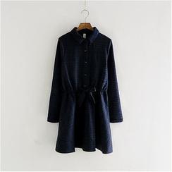 舒然衣社 - 抽绳格纹衬衫裙