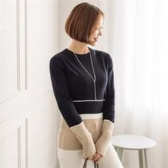 JOAMOM - Round-Neck Color-Block Knit Top