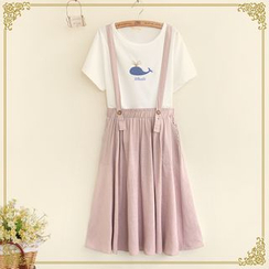 Fairyland - Cat Embroidered Midi Suspender Skirt
