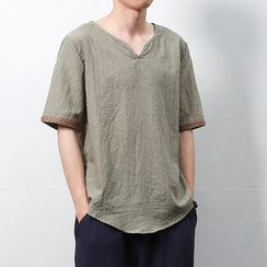 Mrlin - Short-Sleeve Plain T-Shirt