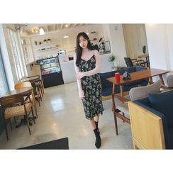 Envy Look - Floral Ribbed Midi Pinafore Dress