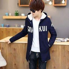 Fusuma - Hooded Lettering Zip Long Jacket