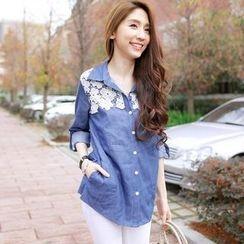 Tokyo Fashion - Tab-Sleeve Lace Panel Denim Shirt