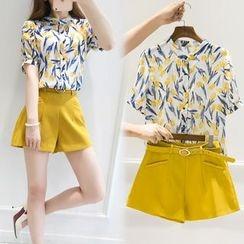 Lavogo - Set: Floral Print Short-Sleeve Shirt + Shorts