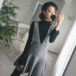 WITH IPUN - Flared Knit Mini Jumper Dress