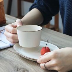 Rijushi - Set of 2: Ceramic Coffee Cup + Plate