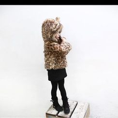 Fluff Snowy - Kids Leopard Faux-Fur Hooded Coat