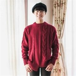 STYLEMAN - Asymmetric-Hem Wool Blend Cable-Knit Sweater