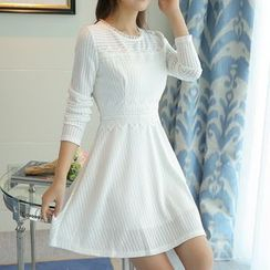 Emeline - Lace Trim Long-Sleeve A-Line Dress