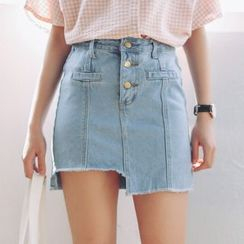 SUYISODA - Asymmetric Fray Denim Skirt