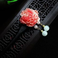 Rivermoon - Flower Gemstone Dangling Hair Pin