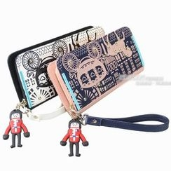 Pandabada - Faux-Leather Printed Long Wallet