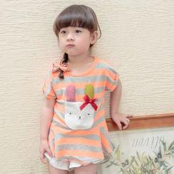 柠檬嘟嘟 - 小童条纹贴布绣动物短袖T恤