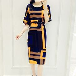 Lavogo - Print Elbow Sleeve Sheath Dress