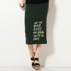 YesStyle Z - Logo Print Maxi Skirt