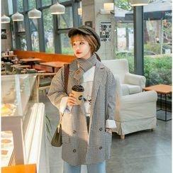 Eva Fashion - Gingham Lapel Coat