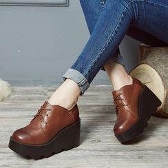LARKSPUR - Platform Wedge Genuine Leather Oxfords