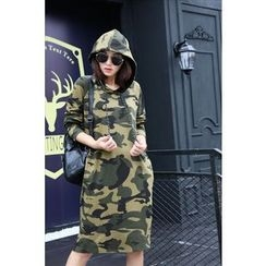 Dream Girl - Camo Midi Hoodie Dress