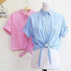 ninna nanna - Tab-Sleeve Gingham Shirt