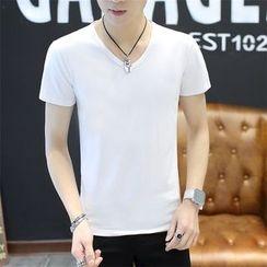 Walwa - 短袖纯色V领T恤