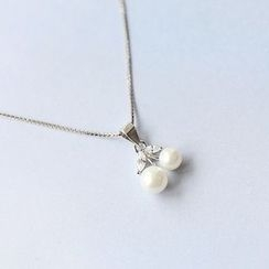 Blinglitz - Pearl Pendant Sterling Silver Necklace