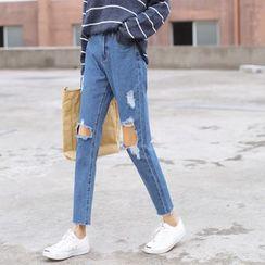 Racoon - Distressed Slim-Fit Jeans
