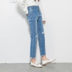 Rollis - Ripped Boot Cut Jeans