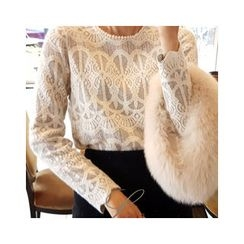 LEELIN - Lace Wool Blend Blouse