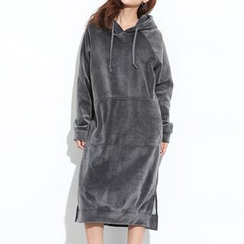Myrtle - Hooded Long-Sleeve Pullover Midi Dress