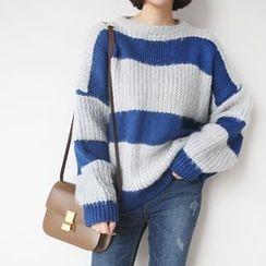STYLEBYYAM - Color-Block Drop-Shoulder Knit Top