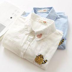 布丁坊 - 猫咪刺绣长袖衬衫