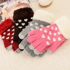 Cuteberry - Heart-Print Knit Gloves