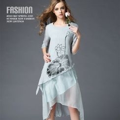 Ozipan - Elbow-Sleeve Printed Asymmetric-Hem Dress