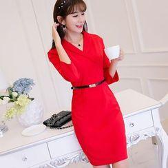 YUMU - 3/4-Sleeve Knit Sheath Dress