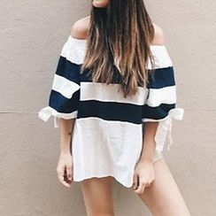 Katie Bloom - Bow Off-shoulder Stripe Top