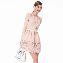 O.SA - Long-Sleeve Lace-Panel Pleated Dress