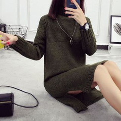 lilygirl - Turtleneck Side Slit Sweater Dress