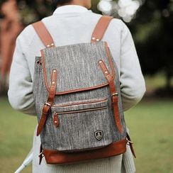 SUPER LOVER - Faux Leather Trim Canvas Backpack