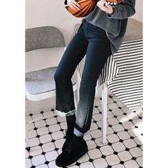 GOROKE - Fray-Hem Straight-Cut Jeans