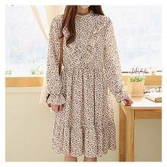 Sechuna - Mandarin-Collar Floral Pattern Tiered Dress