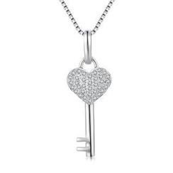 MBLife.com - Left Right Accessory - 18K/750 White Gold Heart Key Diamond Necklace 16' (0.14cttw)