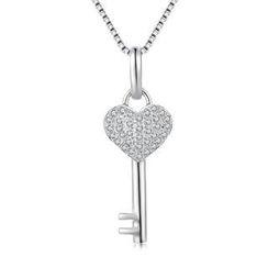 MBLife.com - Left Right Accessory - 18K/750白色黃金心之鑰匙鑽石項鏈 (0.14卡) (贈送 925 純銀 16'項鏈一條)