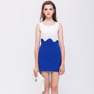 I-DOU - Sleeveless Two-Tone Dress