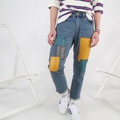 Mr. Cai - Patch-Detail Slim-Fit Jeans
